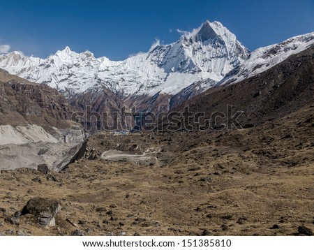 Machhapuchhre peak (6998 m) from Annapurna Base Camp (ABC) - Nepal, Himalayas