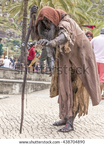 Machico, Madeira, Portugal - June 05 2016 : Beggar at the Medieval Fair re-enactment in Machico