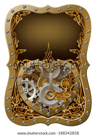 Machine clockwork heart concept with a heart shape made of cogs and gears with art nouveau background - stock photo