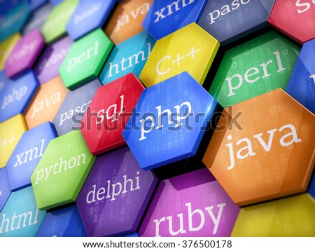 Machine code languages on colorful elements - Programming concept - stock photo