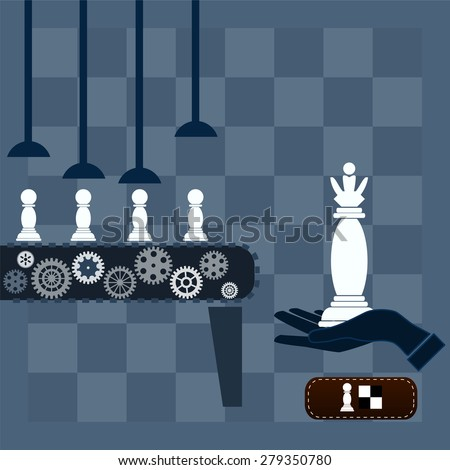 machine conveyor makes chess pawn queen - stock photo