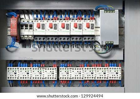 Machine electrical panel - stock photo