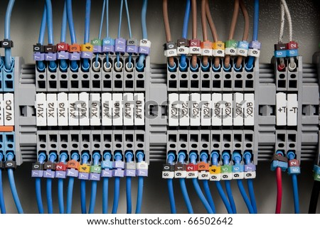 Machine electrical panel - stock photo