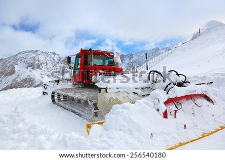 Machine for skiing slope preparations at Kaprun Austria - nature and sport background