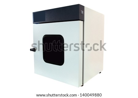 machine for washing of laboratory test tubes isolated under a white background - stock photo