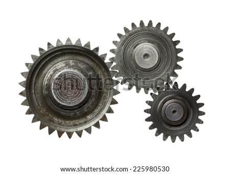 Machine gear, metal cogwheels. Isolated on white. - stock photo