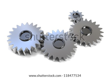 Machine Gears - Isolated on white background - stock photo