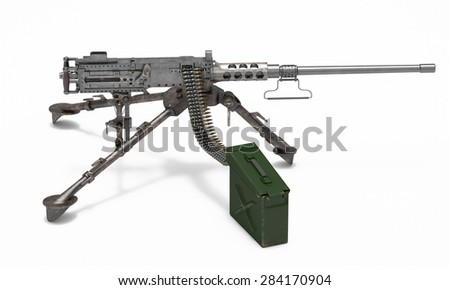 Machine gun isolated on white background - stock photo