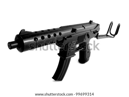 machine gun isolated on white. toy plastic assault rifle weapon - stock photo