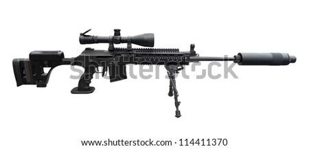 Machine gun on the tripod and optical sight - stock photo