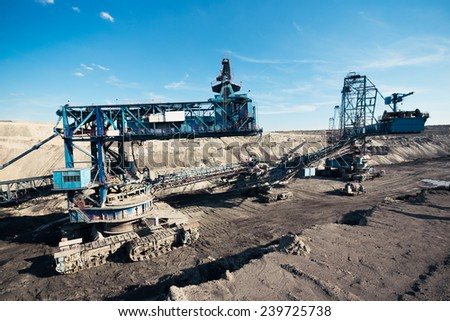machine in a coal mine - stock photo