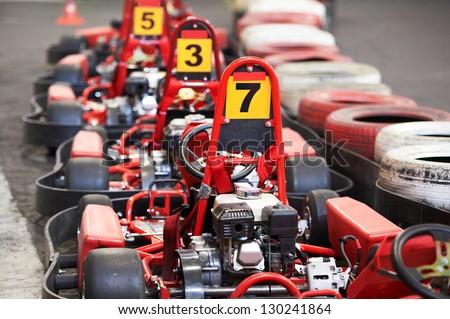 Machine kart before the start - stock photo