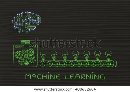 machine learning: electronic circuit brain on factory machine producing ideas - stock photo