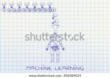 machine learning: ideas & knowledge being dropped into a robot's mind from a factory production line, concept of artificial intelligence - stock photo