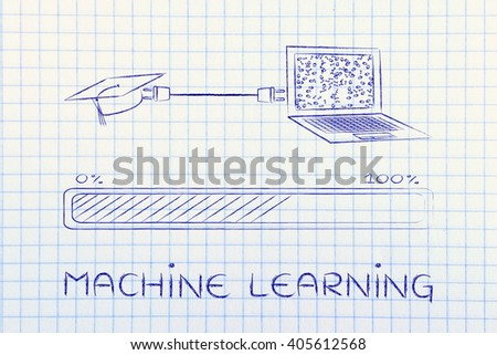 machine learning: laptop and graduation cap connected by plug, with messy binary code being processed on the screen - stock photo