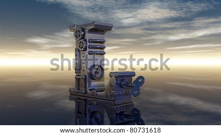 machine letter l under cloudy sky - 3d illustration