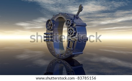 machine letter o under cloudy sky - 3d illustration - stock photo