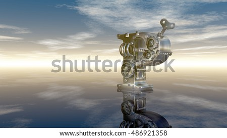 machine letter p under cloudy sky - 3d illustration