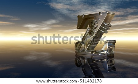 machine letter z under cloudy sky - 3d illustration