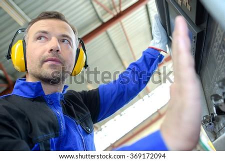 machine operator - stock photo