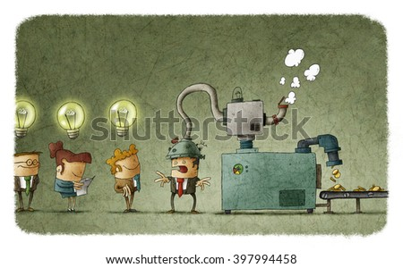 Machine stealing idea from man's head and converting it in money. People in queue with illuminated bulbs - stock photo