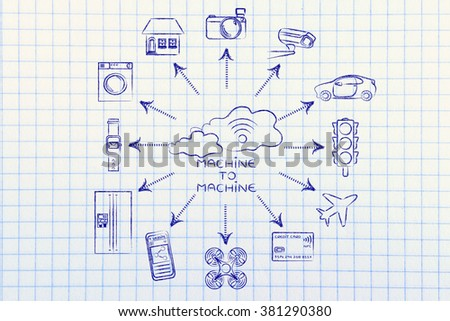 machine to machine: cloud with wi-fi and connected devices (credit card intentionally designed with unmatchable shorter than usual number ending in -X) - stock photo