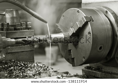 machine tool in a workshop, closeup of photo - stock photo