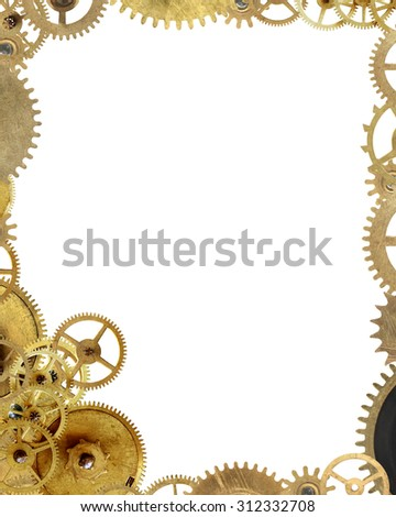 Machinery concept. Picture frame made from lot of various gears - stock photo