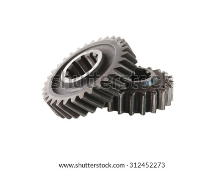 Machinery concept. Two old gears on white background. Isolated with clipping path