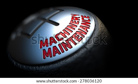 Machinery Maintenance. Control Concept. Gear Lever on Black Background. Close Up View. Selective Focus. 3D Render. - stock photo