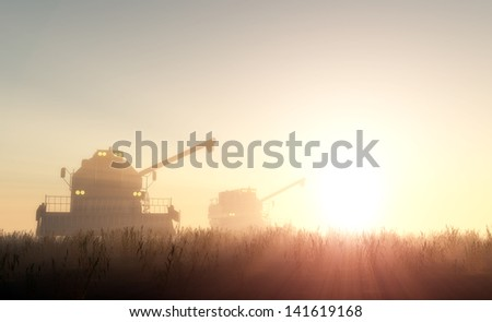 Machines for harvesting  in from the sun. - stock photo