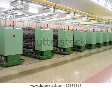 Machines in a textile factory