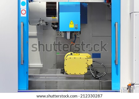 Machining and milling center tool in workshop