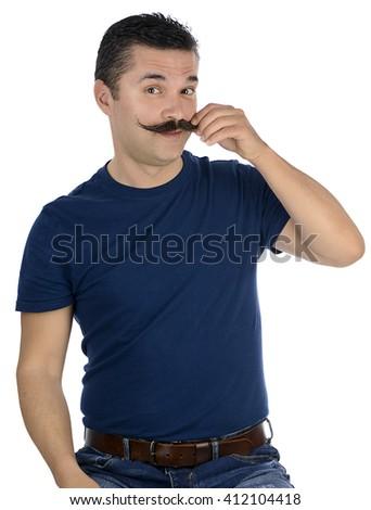 Macho Man Twirling Mustache - stock photo