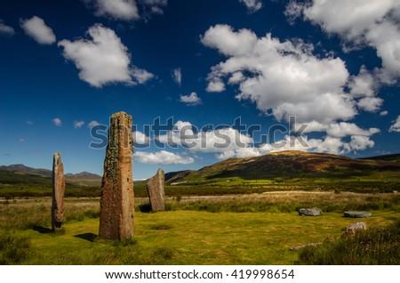 Machrie Moor Stones in beautiful weather, Isle of Arran, Scotland - stock photo