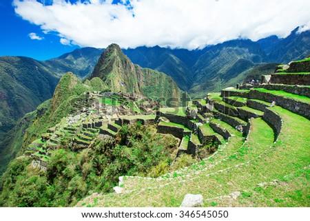 Machu Picchu, a UNESCO World Heritage Site - stock photo