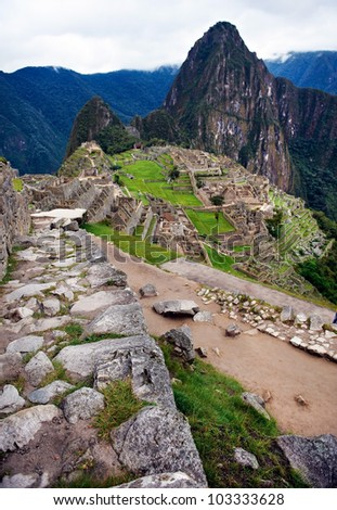 Machu Picchu at dawn shot from a remote spot, Peru - stock photo