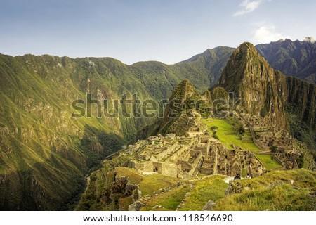 Machu Picchu at sunrise, Peru - stock photo