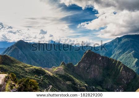 Machu Picchu beautiful panorama overview above the world heritage site - stock photo