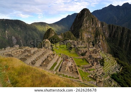 Machu Picchu is the famous lost city of the Incas near the river Urubamba located in the region of the sacred valley of Cuzco. Machu Picchu is a UNESCO world heritage site and one of the 7 new world - stock photo
