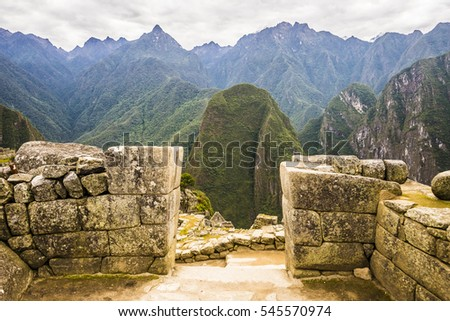 MACHU PICCHU, PERU - OCTOBER 19, 2016: View of mountains towards direction of Aguas Calientes from the site of Machu Picchu.