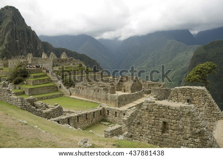 MACHU PICCHU, PERU - SEPTEMBER 26,2015: Machu Picchu, a Peruvian Historical Sanctuary in 1981 and a UNESCO World Heritage Site in 1983. One of the New Seven Wonders of the World