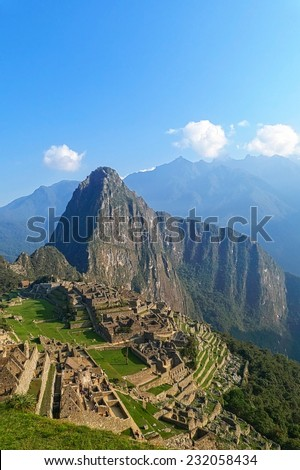 Machu Picchu ruins in Peru are UNESCO World Heritage and one of the worlds most famous cult sites - stock photo