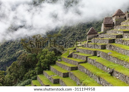 Machu Picchu steps. Forest and white clouds background. Sacred Valley, Peru - stock photo