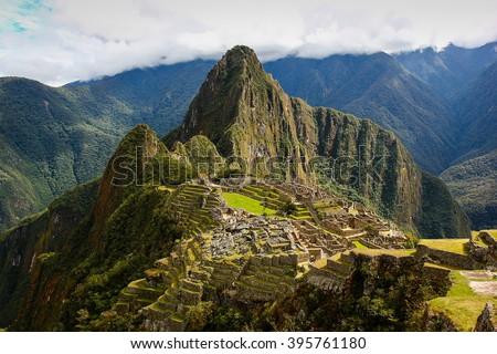 Machupicchu Inca ruins - stock photo