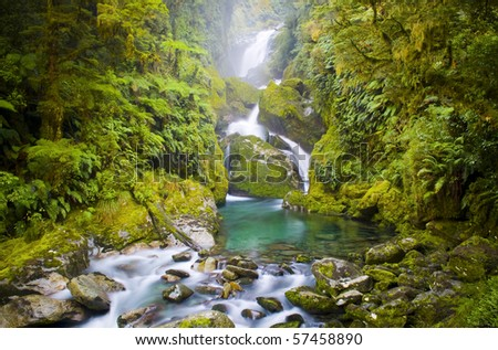 Mackay Falls waterfall lush setting on the Milford Track, New Zealand. Time lapse waterfall