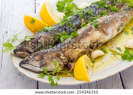 Mackerel baked - stock photo