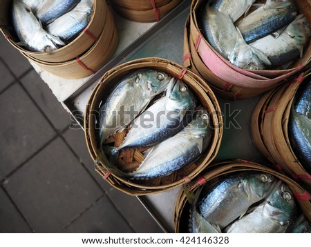 mackerel fish in basket, Thai market
