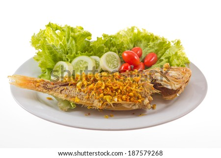 mackerel fried and garlic isolate on white background.. - stock photo