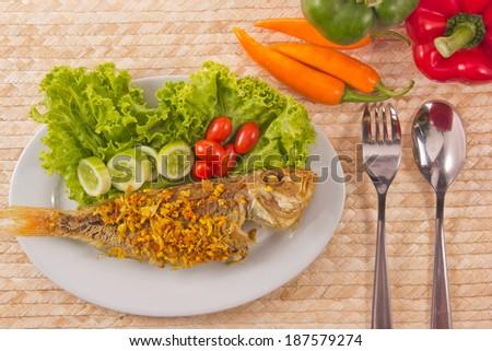mackerel fried and vegetable.. - stock photo